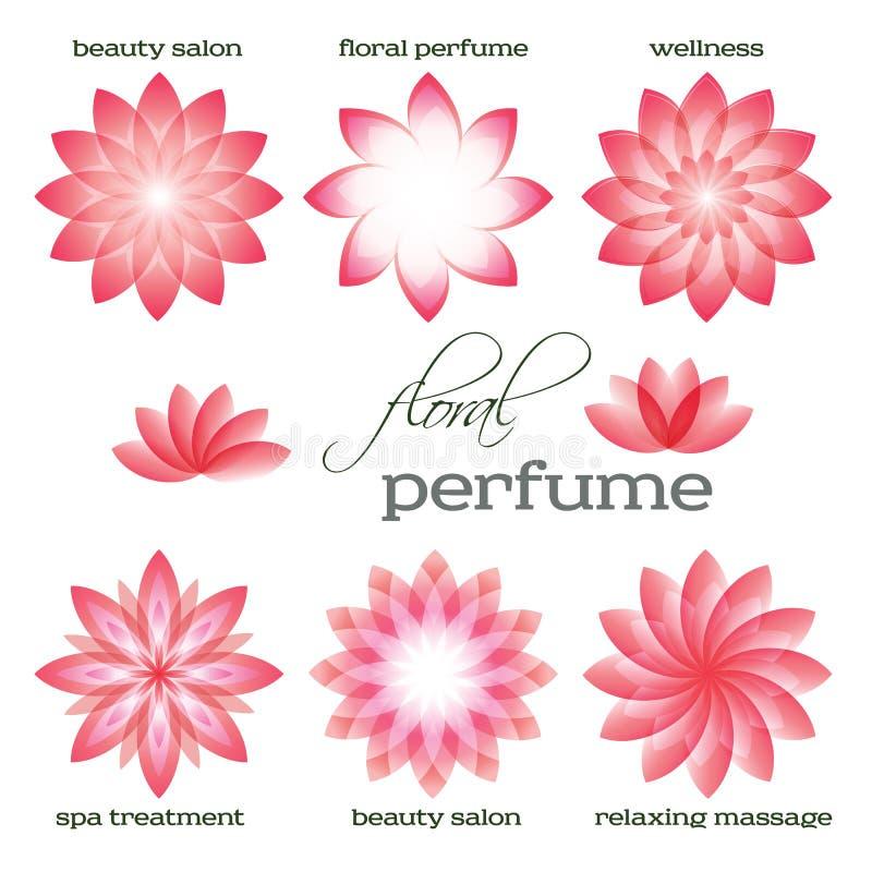 Rosa-Blume-Satz-Logo-Ikone-Blumen-Aroma stockfotos