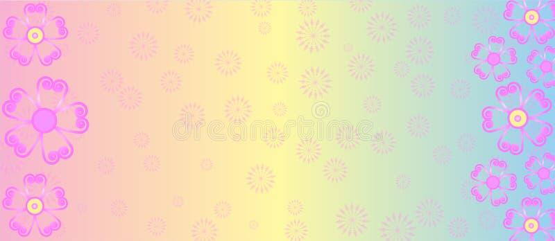 Rosa Blumen in der Pastellfarbhintergrund-Fahne vektor abbildung