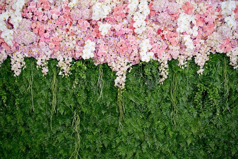 Rosa Blumen des Hintergrundes und grüne Blattanordnung für die Heirat von CER stockfotografie