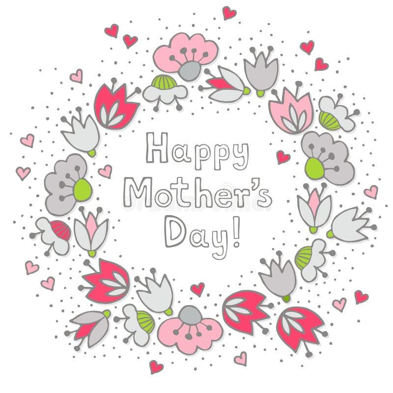 Rosa Blumen und Herzen auf weißer Muttertagkarte vektor abbildung