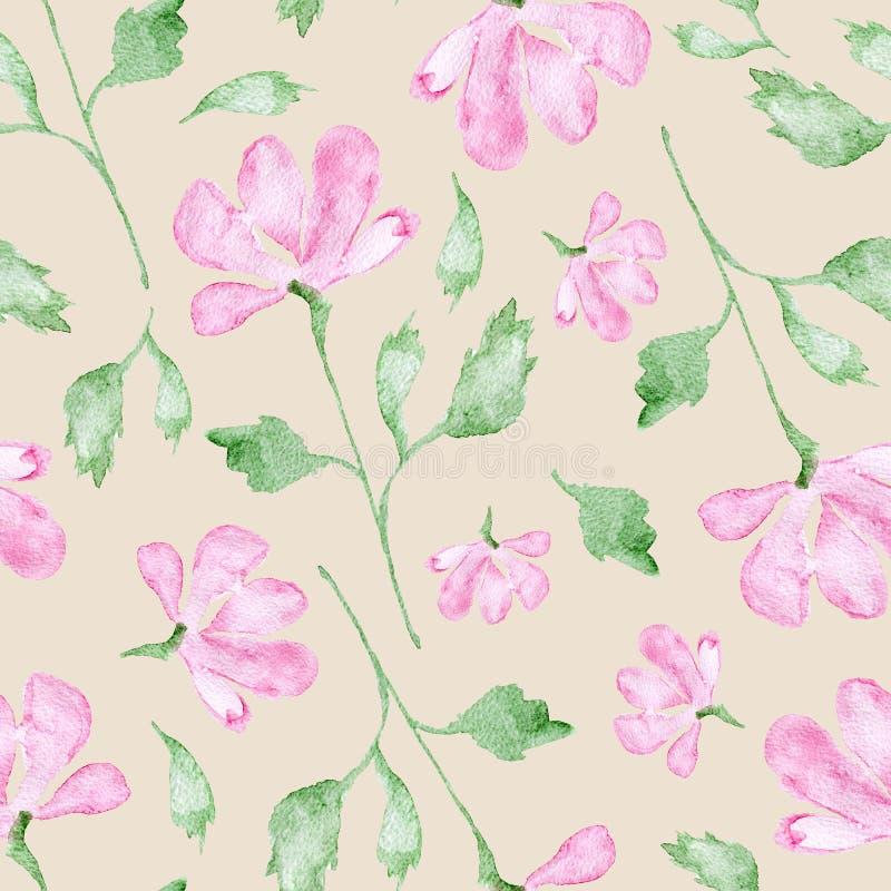 Rosa Blumenaquarellmalerei - Handgezogenes nahtloses Muster mit Blüte auf Beige stock abbildung