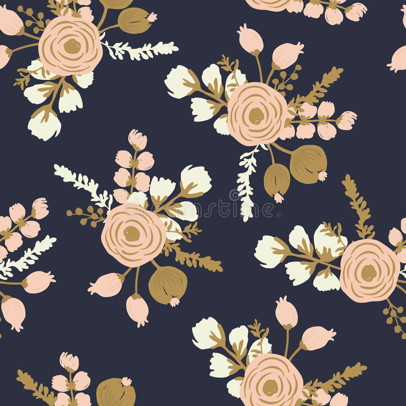 Rosa Blush Noisette. Hand drawn seamless floral pattern stock images