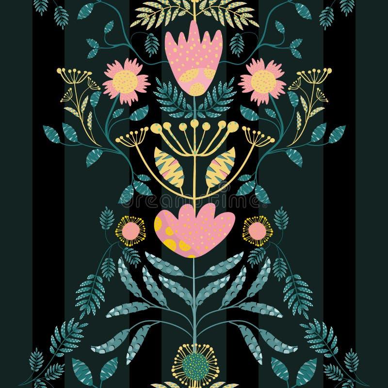 Rosa bohemio del estilo, flores del oro y hojas del trullo Efecto cortado de papel sobre las hojas Modelo inconsútil del vector e libre illustration