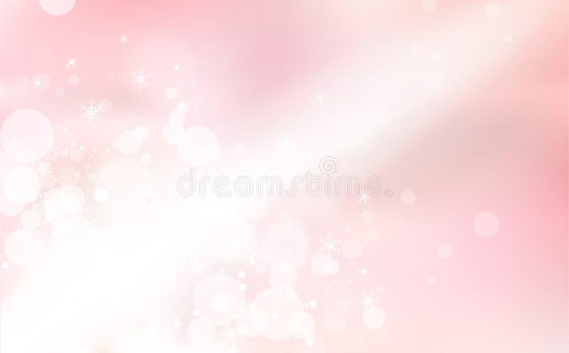 Rosa Bokeh, ljus stråle i vinterberöm, snöflingakonfetti som faller, glödande abstrakt bakgrund för suddighetsgnistrandesemesterp royaltyfri illustrationer