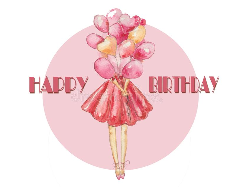 Rosa bonito del impulso de la señora del feliz cumpleaños ilustración del vector