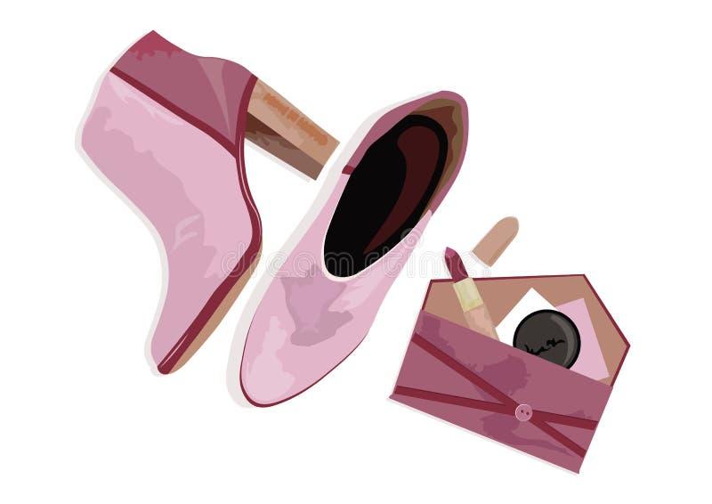 Rosa bonito que shinning botas fêmeas ilustração royalty free