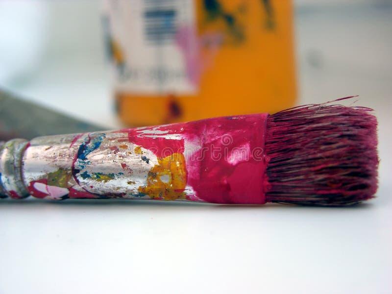 Rosa borstel stock afbeelding