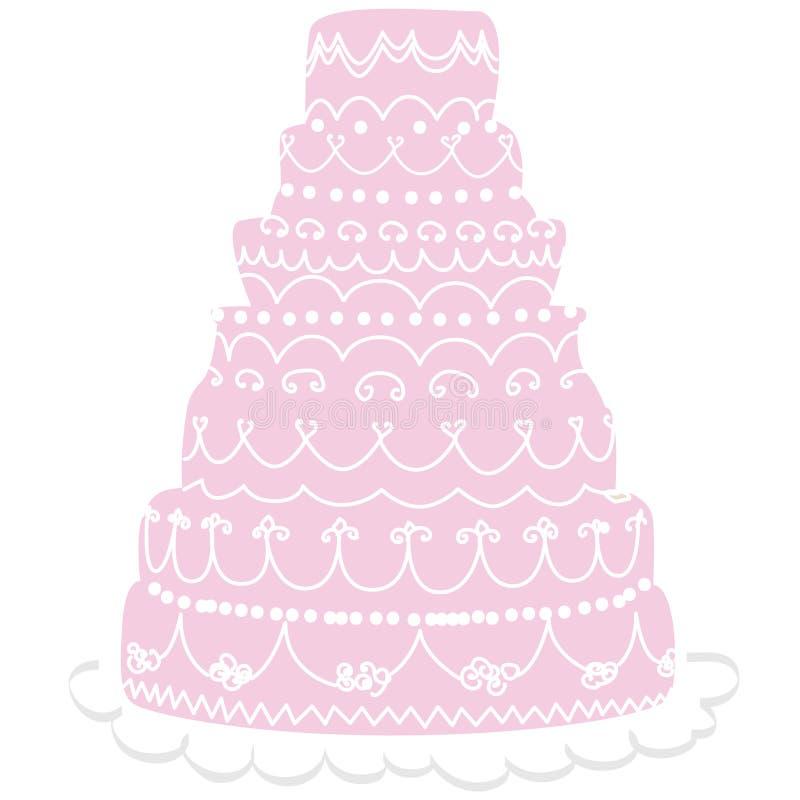rosa bröllop för cake vektor illustrationer