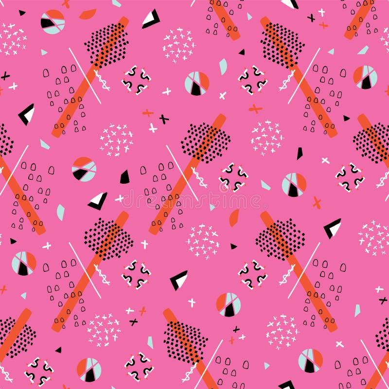 Rosa brillante del modelo del vector de Memphis Style Geometric Abstract Seamless ilustración del vector