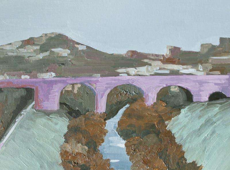 Rosa bro över floden, stads- landskap royaltyfria foton