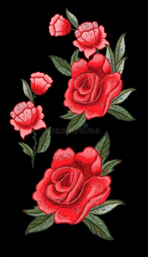 Rosa broderivektor för textildesign stock illustrationer