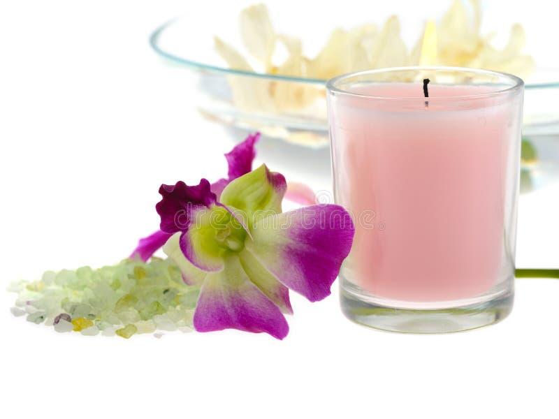 rosa brunnsorttema för stearinljus royaltyfri foto