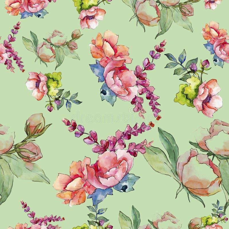 Rosa bukettvildblomma Seamless bakgrund mönstrar Textur för tygtapettryck vektor illustrationer