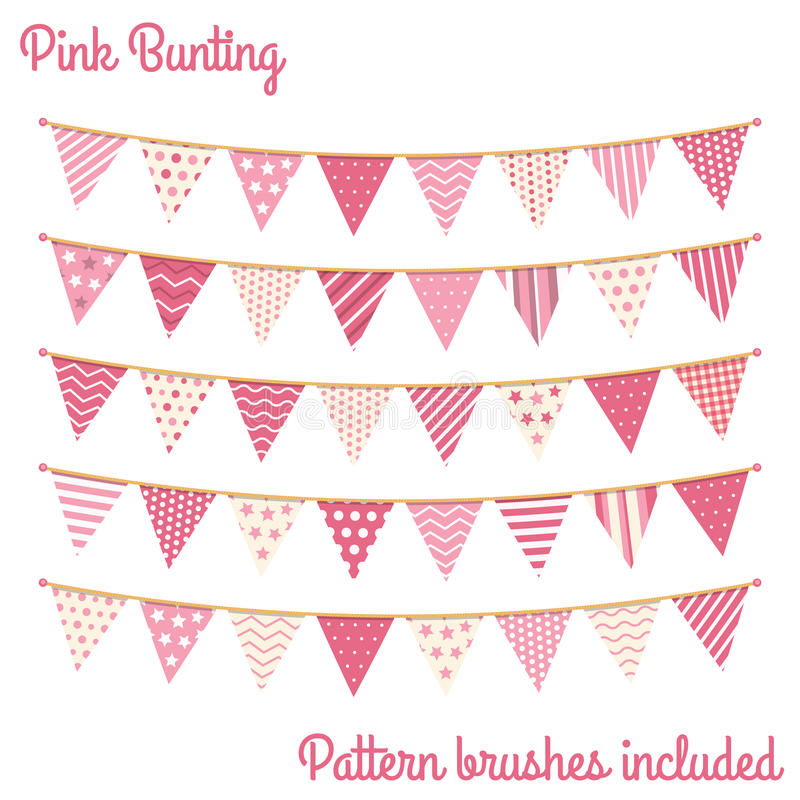 Rosa bunting royaltyfri illustrationer