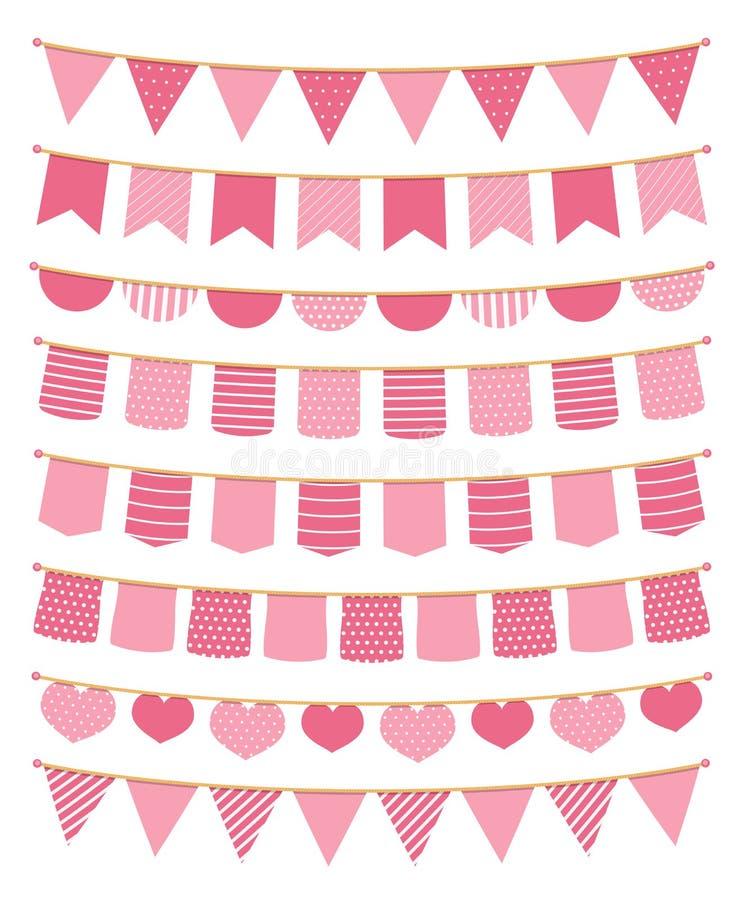Rosa bunting stock illustrationer