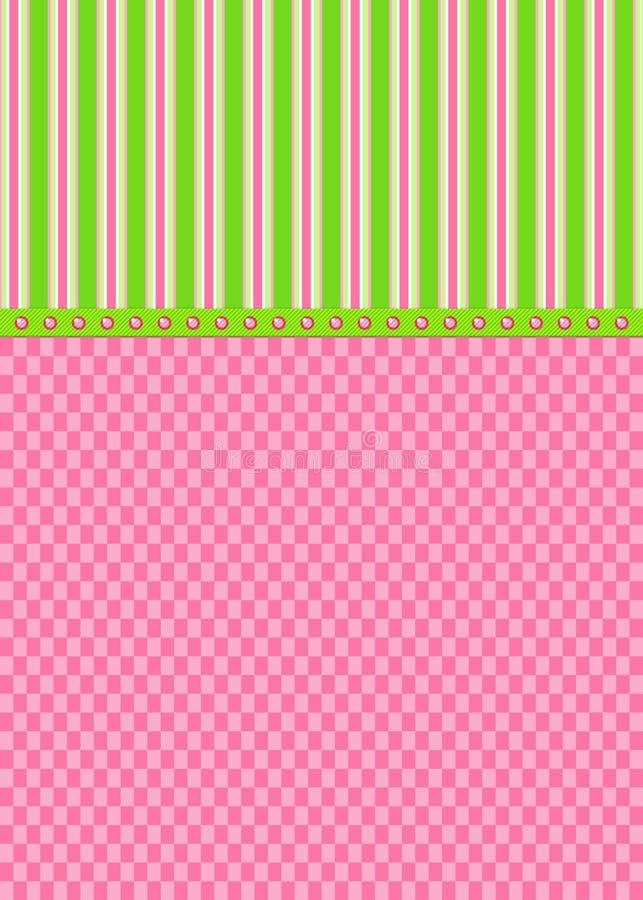 Rosa-Checks und Grün-Streifen-Gruß-Karte stockbild