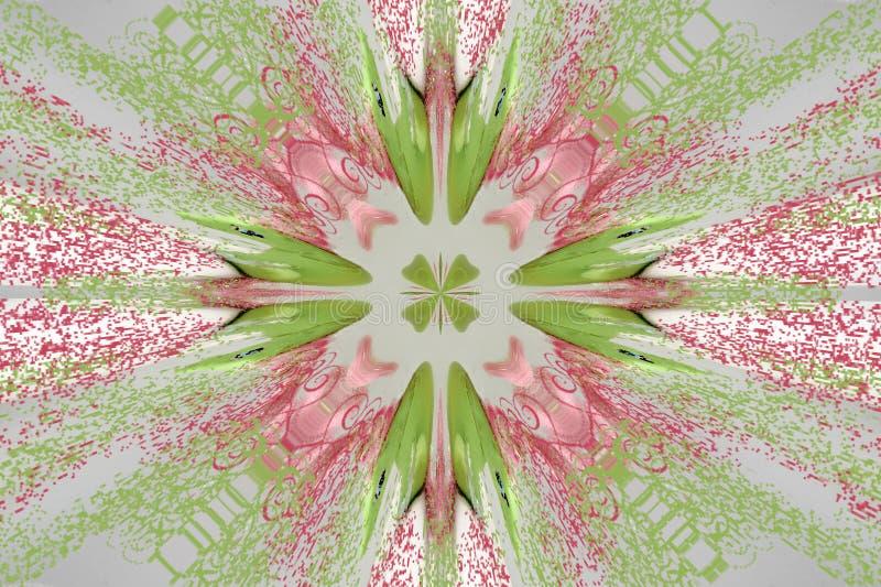 Rosa circular con el ornamento verde (mandala, caleidoscopio) stock de ilustración