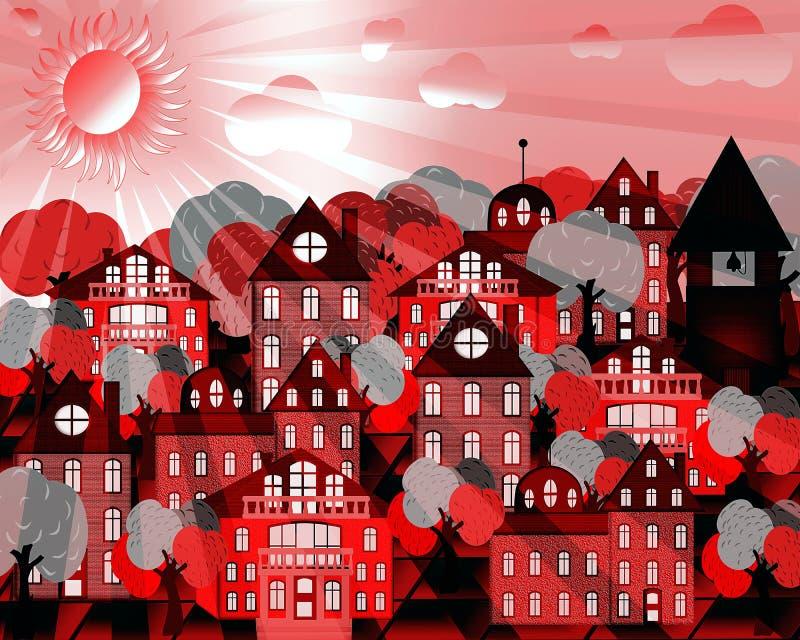 Rosa cityscape i de rosa strålarna av solen vektor illustrationer