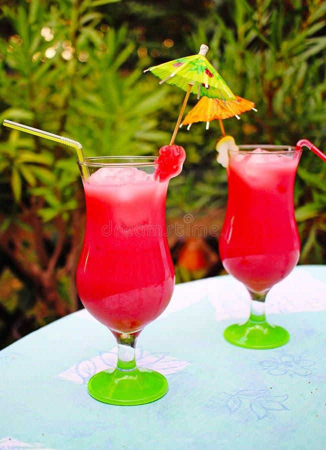Rosa coctailar för fruktcoctail på anstrykning för godis för trädgårdparti royaltyfri fotografi