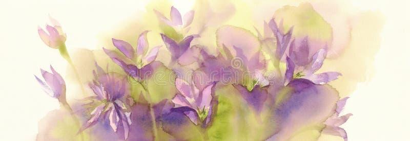 Rosa colchicumvattenfärgbakgrund stock illustrationer