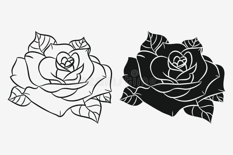 Rosa com as folhas ajustadas Silhueta preta e esboço tirado mão da flor Vetor ilustração stock