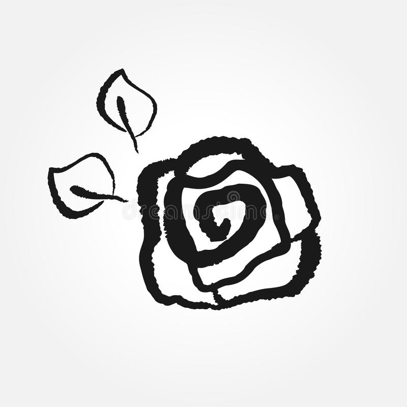 Rosa com as folhas tiradas à mão Ícone, logotipo, símbolo, sinal Grunge, esboço, garatuja, aquarela ilustração stock