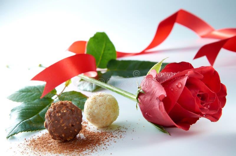 Rosa com chocolate fotografia de stock royalty free
