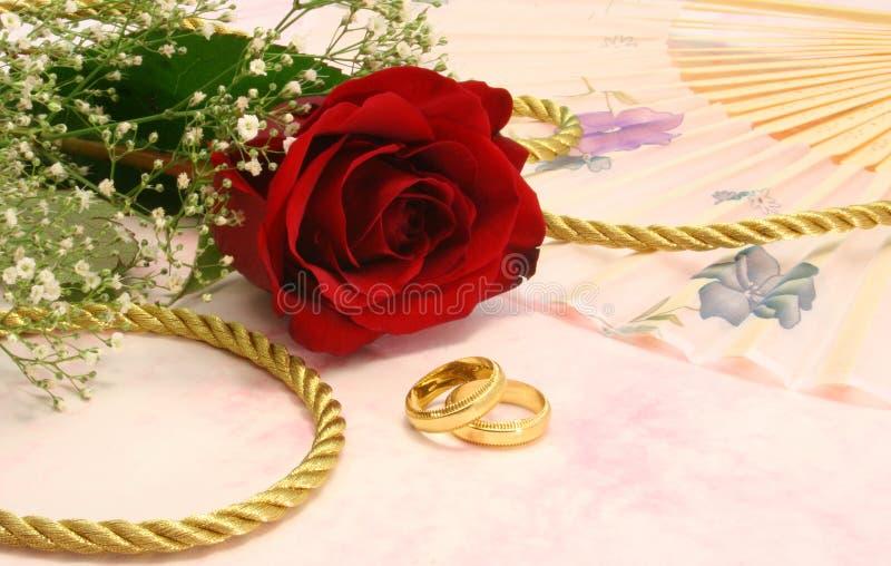 Rosa com faixas de casamento imagem de stock royalty free