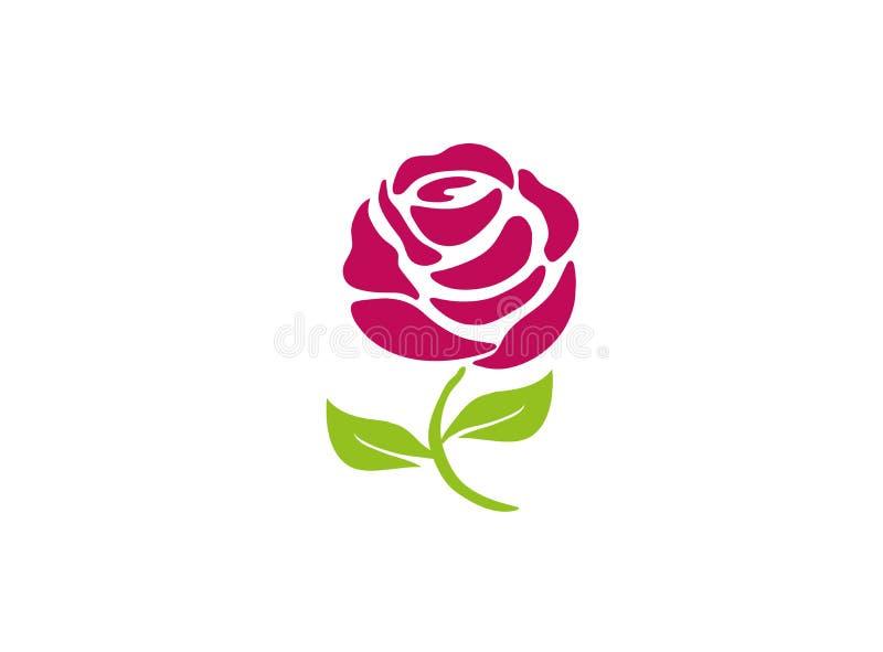 Rosa com folhas e a flor longa do pé para o logotipo ilustração stock