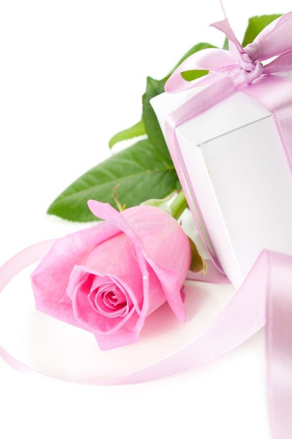 Rosa com presente-caixa imagens de stock