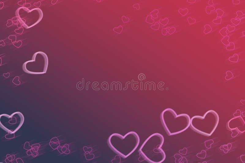Rosa con il fondo astratto porpora di pendenza, cuori rosa illustrazione vettoriale