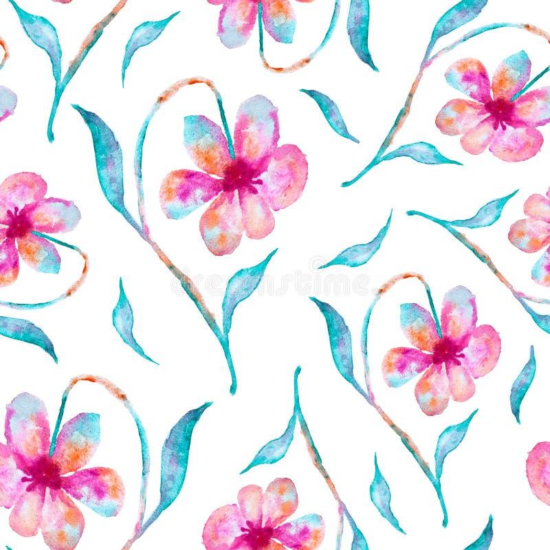 Rosa con las flores azules, pintura mezclada de la acuarela de los colores - modelo inconsútil en blanco libre illustration