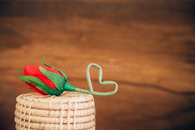 Rosa con retro fondo di legno fotografia stock