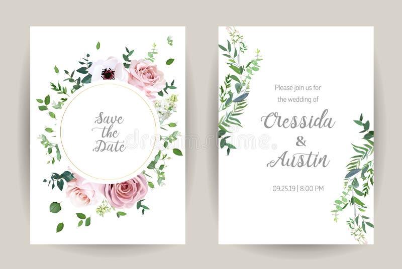 Rosa cor-de-rosa empoeirada, anêmona, lilás branco, eucalipto, hortaliças ilustração royalty free