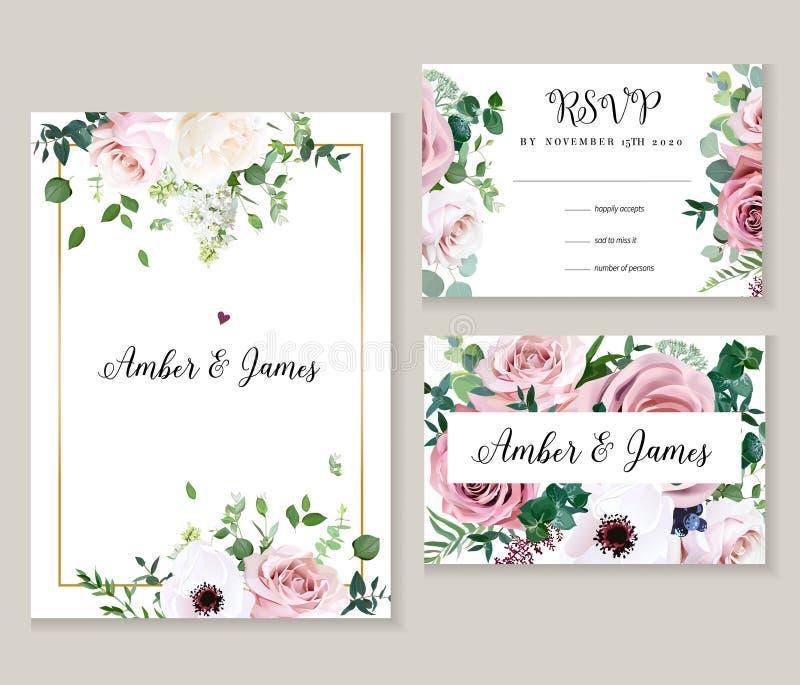 Rosa cor-de-rosa empoeirada, anêmona, lilás branco, eucalipto, hortaliças ilustração do vetor