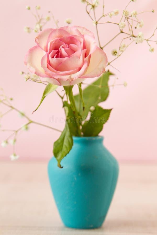 Rosa cor-de-rosa pequena no vaso azul fotos de stock royalty free
