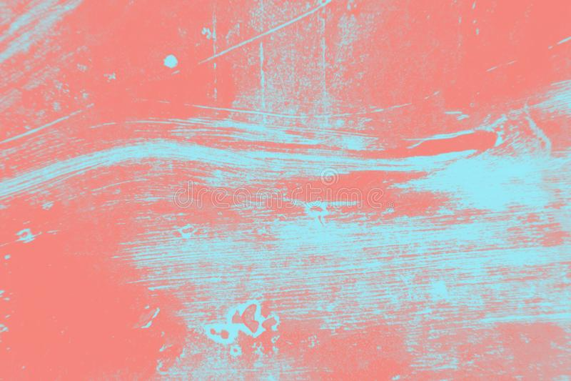 Rosa coralino abstracto y fondo azul claro de la textura del cepillo del grunge de la pintura fotografía de archivo libre de regalías