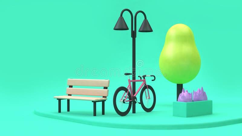 Rosa cykeltecknad filmstil i grönt parkerar minsta 3d framför begrepp för gå-lopp-trans.-räddning miljöstad vektor illustrationer