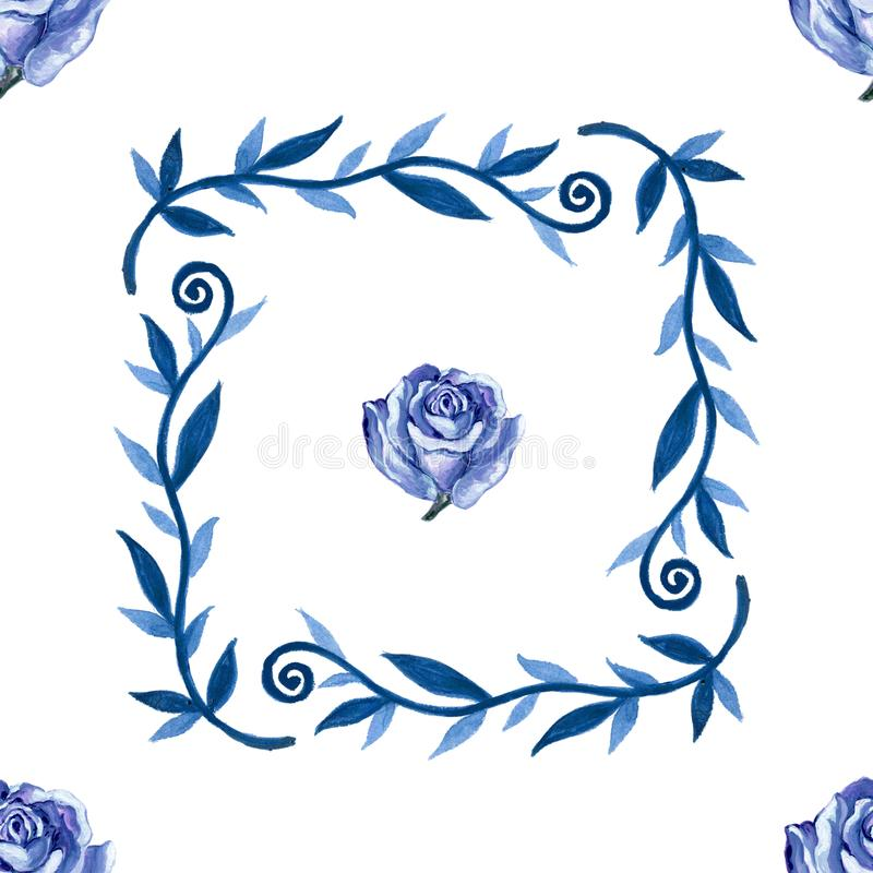 Rosa d'annata del blu di gouache dell'acquerello bella con il seaml delle foglie illustrazione di stock