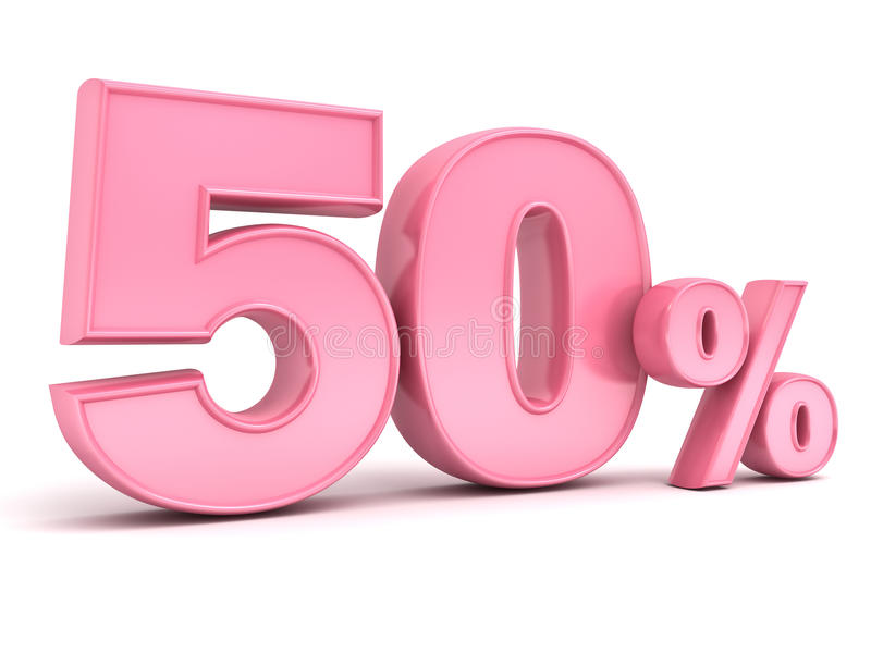 Rosa 3D fünfzig Rabatttag der Prozent oder des Sonderangebots 50% für Dame vektor abbildung