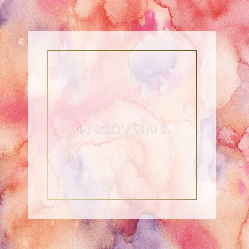 Rosa da aquarela e quadro abstrato roxo da beira com manchas e lavagens ilustração do vetor