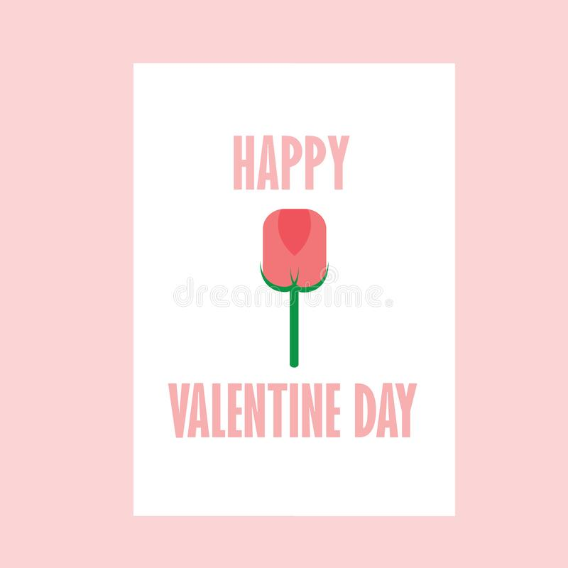 Rosa da cor de Rose Happy Valentine Day With ilustração do vetor
