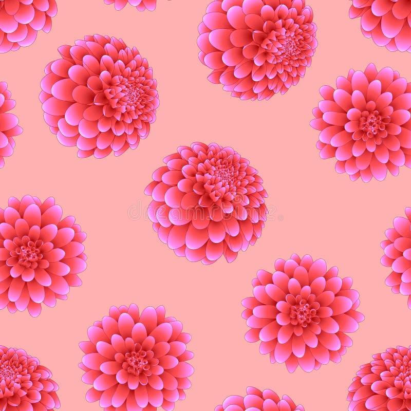 Rosa dahlia på ljus - rosa bakgrund Nationell blomma för Mexico ` s också vektor för coreldrawillustration royaltyfri illustrationer