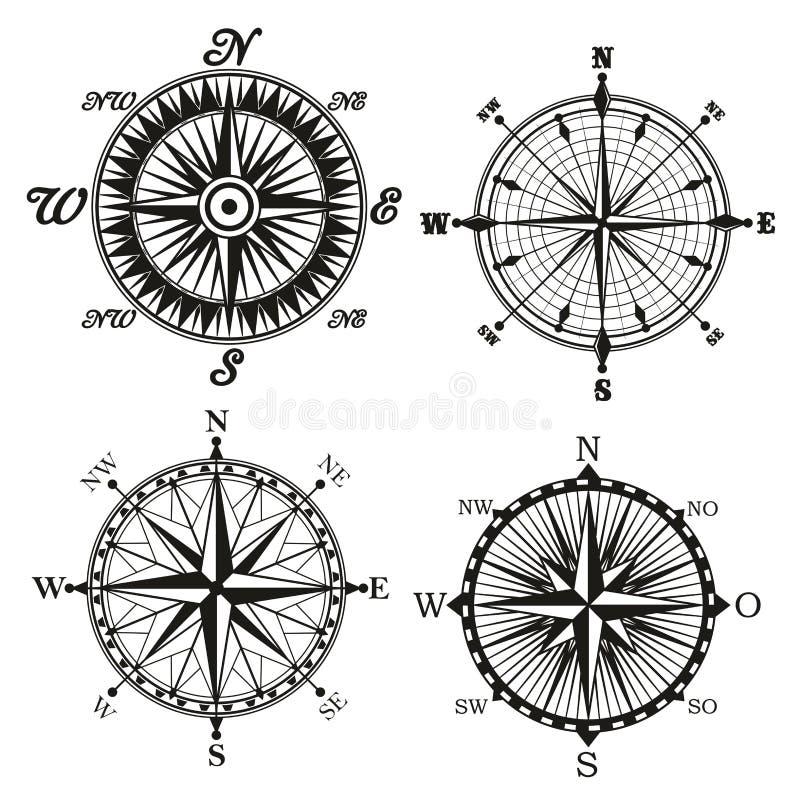 Rosa de ícones do vetor do retor do compasso do vento ilustração stock