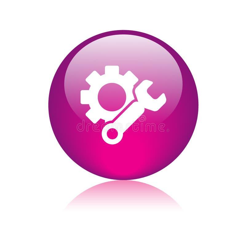 Rosa de botón del web del icono de los ajustes libre illustration
