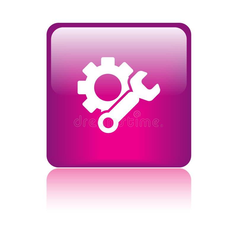 Rosa de botón del web del icono de los ajustes ilustración del vector