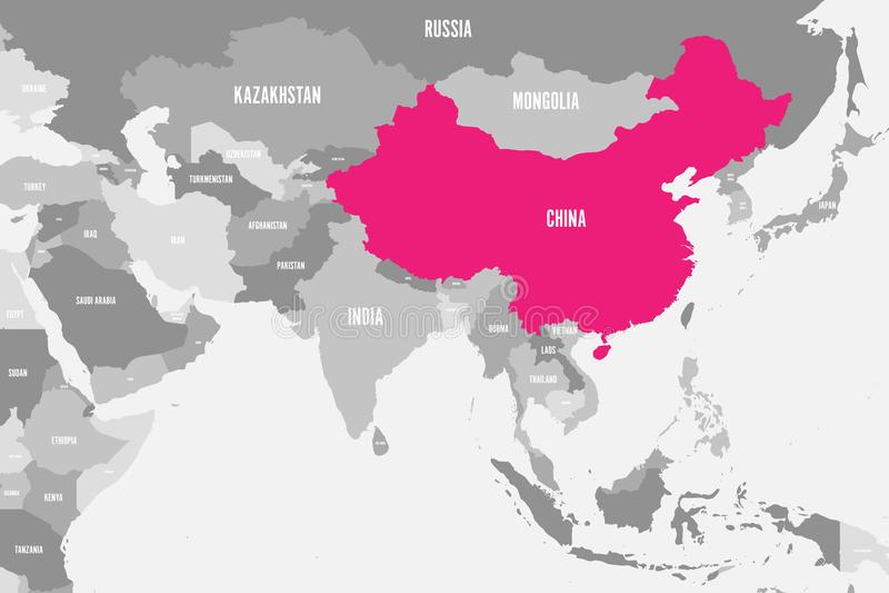 Rosa de China marcado en mapa político de Asia meridional Ilustración del vector stock de ilustración