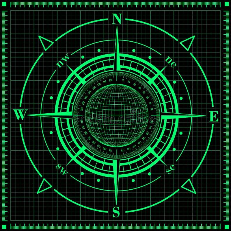 Rosa de compás del radar con el globo stock de ilustración