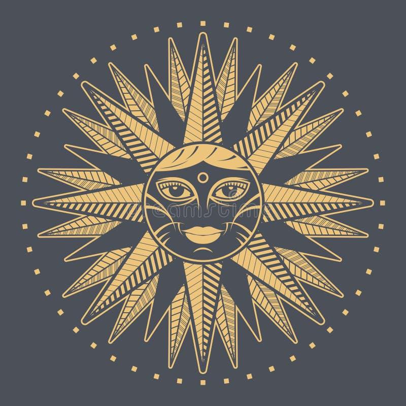 Rosa de compás de la cara del sol del vintage ilustración del vector