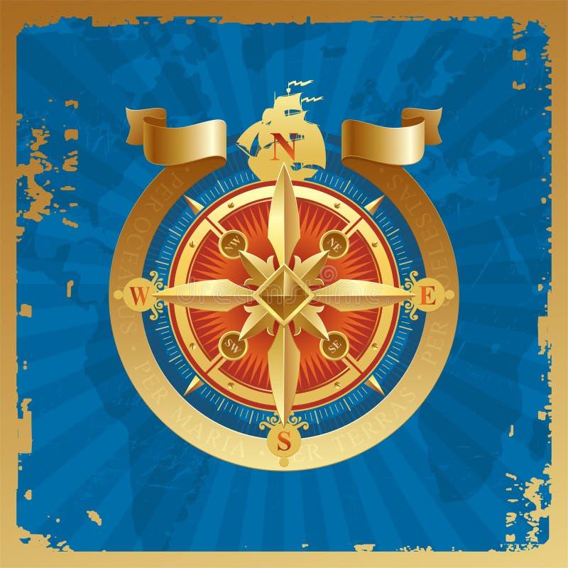 Rosa de compasso dourada ilustração royalty free